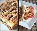 {Secret Recipe Club} Apple Streusel Cheesecake Bars & Vegan Chorizo, Potato, and Egg Tacos