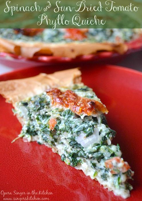 Spinach & Sun-Dried Tomato Phyllo Quiche #JarlsbergUSA