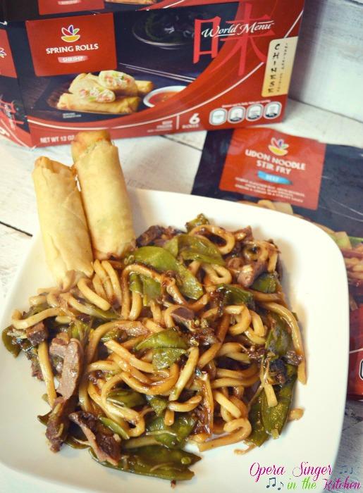 GIANT World Menu Spring Rolls and Udon Noodle Stir Fry