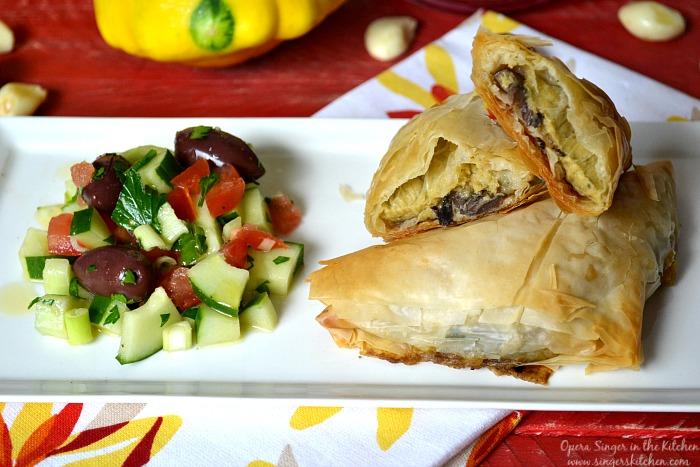 Summer Vegetable and Basil Hummus Phyllo Pockets