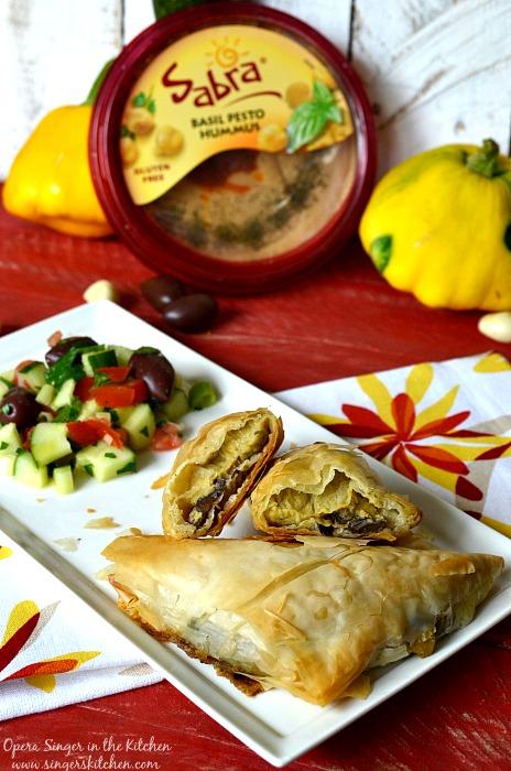Summer Vegetable and Basil Hummus Phyllo Pockets 4