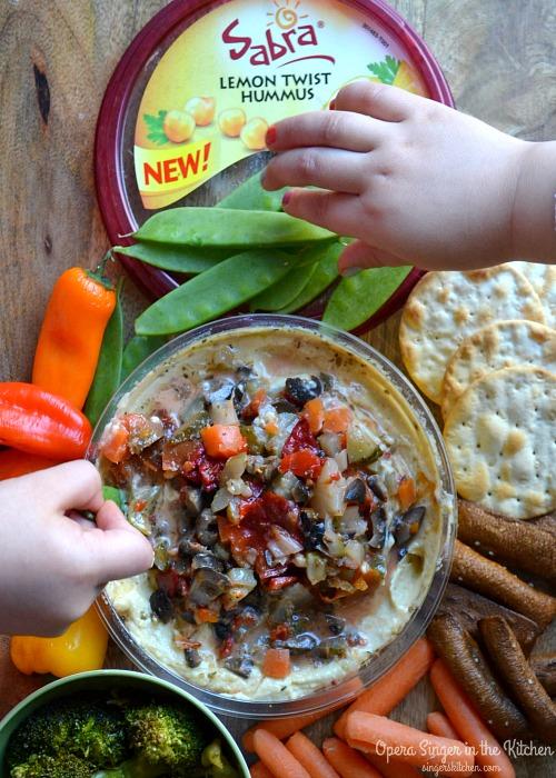 Mediterranean Giardiniera Topped Hummus for kids #UnOfficialMeal